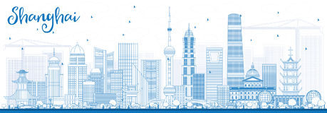 Outline Shanghai Skyline with Blue Buildings. Vector Illustration. Business Travel and Tourism Concept with Modern Architecture. Image for Presentation Banner vector illustration