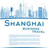 Outline Shanghai skyline with blue skyscrapers and copy space Stock Image