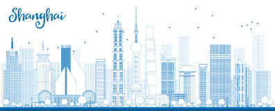 Outline Shanghai skyline with blue skyscrapers. Stock Photos