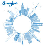 Outline Shanghai skyline with blue skyscrapers Stock Photography