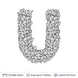 Letter U symbol of white leaves. Stock Photo