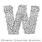 Letter W symbol of white leaves. Royalty Free Stock Photo