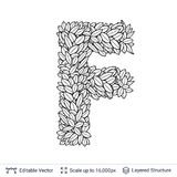 Letter F symbol of white leaves. Royalty Free Stock Images