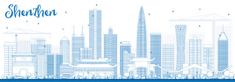 Outline Shenzhen Skyline with Blue Buildings. Royalty Free Stock Photography