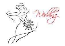 Outline silhouette of bride with flowers royalty free stock photos