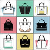 Outline and silhouette fashionable women purse set Stock Photo