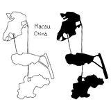 Outline and silhouette map of Macau China - vector illustration Royalty Free Stock Images