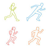 Outline silhouettes of runners. Line  figures marathoner. Royalty Free Stock Images