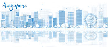Outline Singapore skyline with blue buildings and reflections. Stock Images