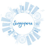 Outline Singapore skyline with blue landmarks and copy space. Stock Photo