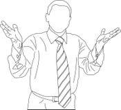 Outline sketch of businessman stock photos