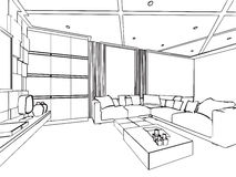Outline sketch drawing interior perspective of house. Outline sketch drawing perspective of a interior space Royalty Free Stock Photos