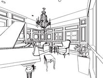 Outline sketch drawing interior perspective of house Royalty Free Stock Photos