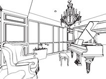 Outline sketch drawing interior perspective of house Stock Photography