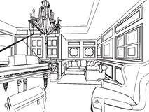 Outline sketch drawing interior perspective of house Stock Image