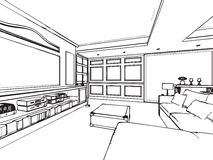 Outline sketch drawing interior perspective of house Stock Images