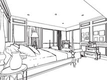 Outline sketch drawing interior perspective of house Royalty Free Stock Photography