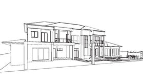 Outline sketch drawing perspective of a space office. Exterior outline sketch drawing perspective of a space office Royalty Free Stock Images