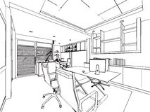 Outline sketch drawing perspective of a space office. Interior outline sketch drawing perspective of a space office Stock Photos