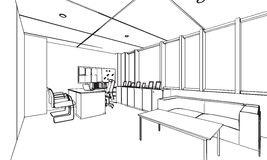 Outline sketch drawing perspective of a space office Stock Image