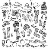 Outline Sketch. Female Accessories Set.Autumn, Royalty Free Stock Image