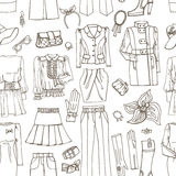 Outline Sketch.Females clothing ,accessories Royalty Free Stock Image