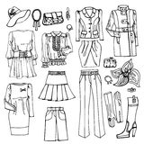 Outline Sketch.Females clothing and accessories Stock Image
