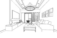 Outline sketch of a interior Royalty Free Stock Photos