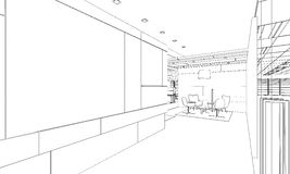 Outline sketch of a interior Royalty Free Stock Photo