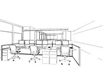 Outline sketch of a interior Royalty Free Stock Images