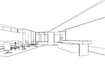 Outline sketch of a interior Stock Photography