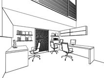 Outline sketch of a interior Royalty Free Stock Image
