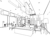 Outline sketch of a interior Royalty Free Stock Photos