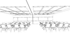 Outline sketch of a interior meeting room Royalty Free Stock Images