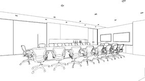 Outline sketch of a interior meeting room Stock Image