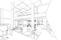 Outline sketch of a interior office area Stock Photography