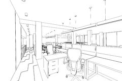 Outline sketch of a interior office area Stock Photos