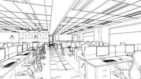 Outline sketch of a interior office area Royalty Free Stock Image