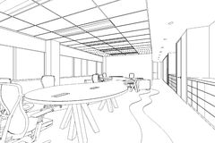 Outline sketch of a interior office area Royalty Free Stock Photos