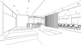 Outline sketch of a interior pantry area Stock Photography