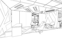Outline sketch of a interior pantry area. With clipping path Royalty Free Stock Photo