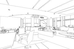Outline sketch of a interior pantry area. With clipping path Royalty Free Stock Photography