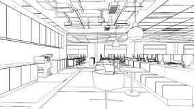 Outline sketch of a interior pantry area Royalty Free Stock Images