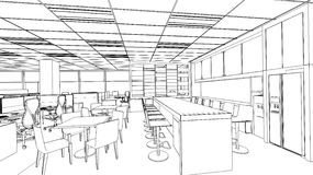 Outline sketch of a interior pantry area Stock Photos