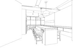 Outline sketch of a interior pantry area. Outline sketch of a interior meeting room in isolate Royalty Free Stock Photo