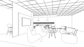 Outline sketch of a interior pantry area. Outline sketch of a interior meeting room in isolate Stock Photography