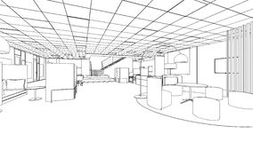 Outline sketch of a interior pantry area. Outline sketch of a interior meeting room in isolate Royalty Free Stock Photos
