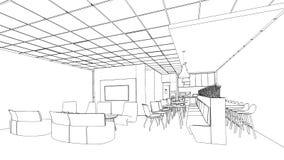 Outline sketch of a interior pantry area. Outline sketch of a interior meeting room in isolate Stock Photo