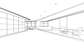 Outline sketch of a interior reception area Stock Photo
