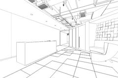 Outline sketch of a interior reception area Stock Image